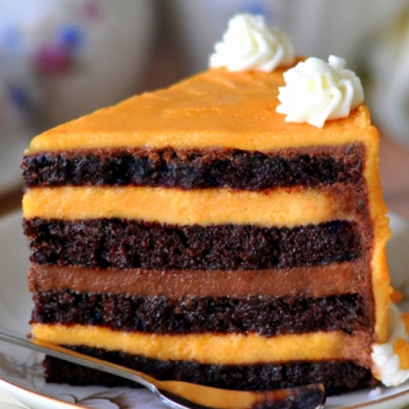 Orange And Chocolate Mousse Layered Chocolate Cake Recipe