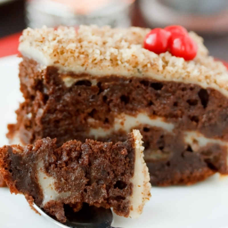 Chocolate Cake With Cream Filling And Nut Frosting Recipe